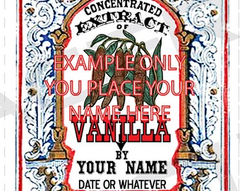 YOU ADD TEXT Homemade Vanilla Extract Labels Vintage Vanilla Extract Tags Digital Download Vanilla Extract Labels Color Vanilla Scent - 062