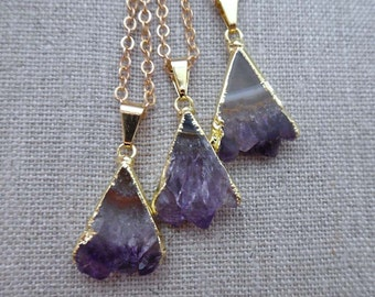 Amethyst Slice Necklace / Triangle Amethyst Slice / Natural Amethyst Pendant / Gold Edged Raw Amethyst Slice Triangle Necklace //GR7