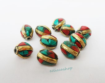 oval ethnic beaded coral brass inlays and turquoise 1PZ