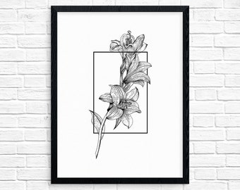 Geometry of a Flower No.4 - Lily printable art