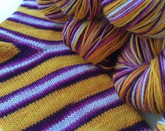Hand dyed self striping merino sock yarn - Crocus