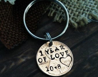 Lucky Penny Key Chain, Anniversary Key Chain, 1 year Key Chain, Anniversary Gift, One Year Key Chain, Gift for Husband, Gift for Boyfriend