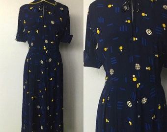 1940's Rayon Abstract Print Day Dress