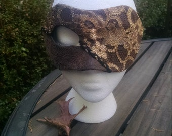 Gold Lace and Faux Leather Mask