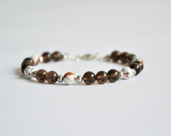 Bracelet smoked quartz, turquoise white / brown / camel and tibetan silver