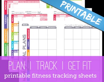Printable Fitness Planner Nutrition & Workout by PowerSnowDesigns