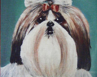 Original Painting THE PAMPERED POOCH by Aine