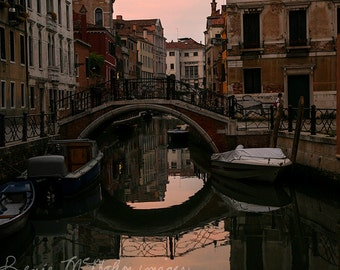 Venice photography, Italy print, Italian decor, Venice sunset, Venice canal, large wall art, home decor, office decor, peaceful art,
