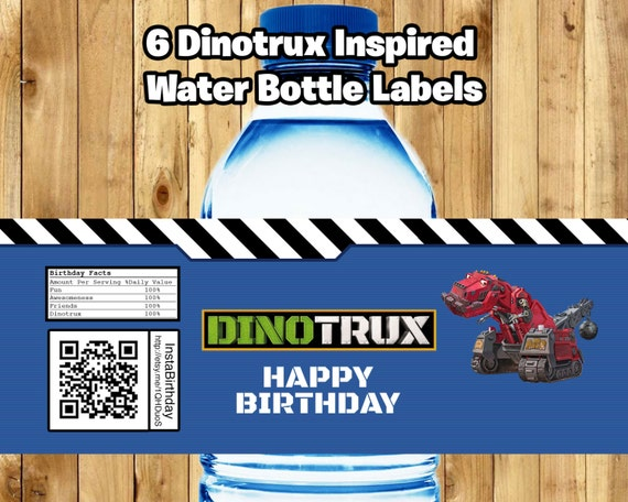 Dinotrux Inspired Water Bottle Labels Download Print Dinotrux Bottle Wrappers Dinotrux Birthday Party Favor Decor