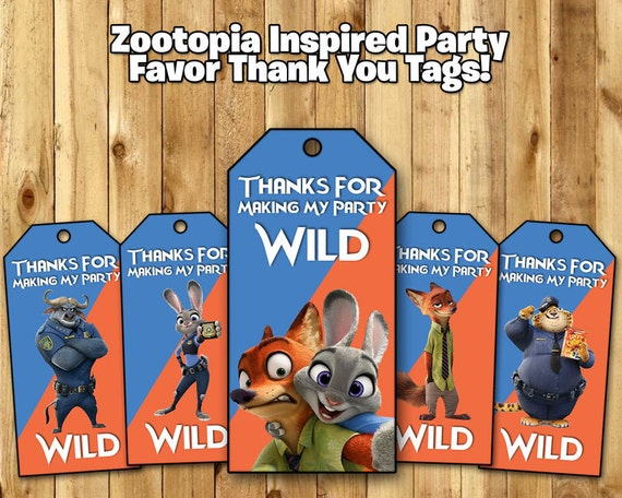 Zootopia Inspired Favor Tags - Zootopia Birthday Party Favor Tags Download Print Zootopia Loot Bag Tags - Zootropolis Party Favor Tags
