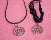 Choker With Charm Lotus Flower Choker  Lotus Necklace  Lotus Choker Necklace  Black Cord Necklace  Yoga Jewelry