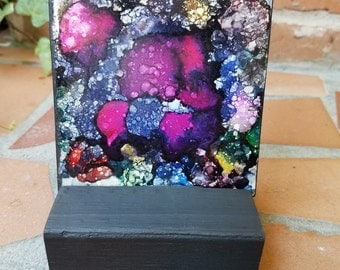 Alcohol Ink, Painting, Tile, Abstract, Multi-Color