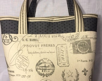 Large sturdy cream and black striped tote bag