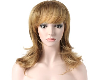 "20"" Slight Curly w/ Fringe - Full Head Beautiful Long Curly Wave Stunning Wig Charming Curly Costume Wig (R1416T )"