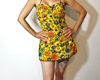 Yellow Wycinanki Mini Dress or Playsuit Polish Folk floral Sweetheart Neckline