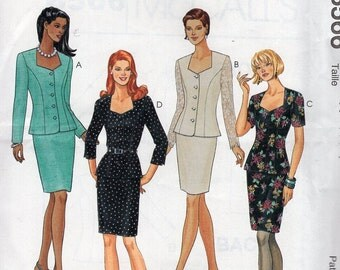 FREE US SHIP McCall's 8566 Suit Jacket Skirt Lace Sleeves Princess Seams Retro 1996 1990's Uncut Sewing Pattern Size 6-16 Bust 30-38