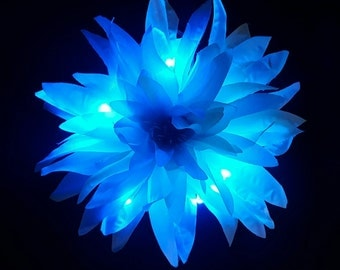 Large Blue and Turquoise Spider Chrysanthemum Fairy Glow Hair Flower Clip