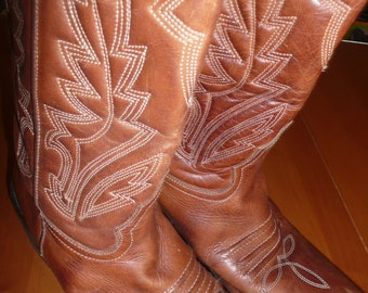 Vintage FLUXA footwear cowboy brown leather boots made in Spain