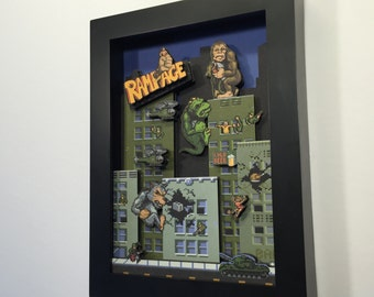 Rampage! Arcade Game 3D Shadow Box 5x7 Mini Edition!