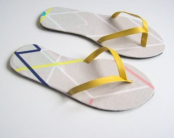 Cream geometric flip flops thong sandals new handmade shoes various sizes