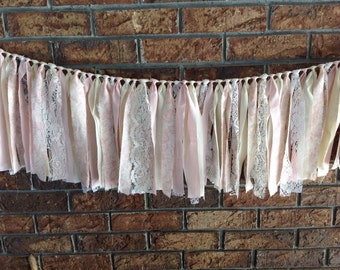 Shabby Chic fabric garland- pink, cream, lace