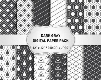 "Gray and White Digital Paper: ""Gray Digital Paper"" Dark Gray Digital Paper, Gray Scrapbooking Paper, Geometric Digital Paper"