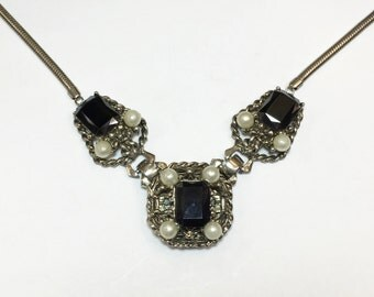50s Black and Pearl Filigree Necklace | Emerald Cut Glass Stone Evening Necklace