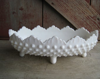 Fenton Hobnail White Milk Glass Pickle Relish Footed Oval Dish Curvy Scalloped Edge