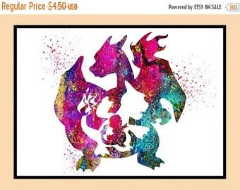 ON SALE 50% OFF Charmander Pokemon, Charmander Print, Anime,Watercolor print, nursery, for Kids Room Decor, Poster,print, Instant Download