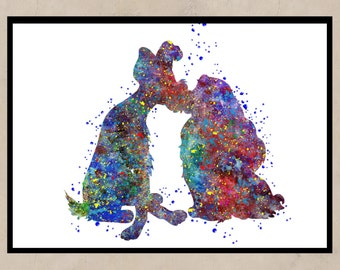 Lady and the Tramp inspired, Lady and the Tramp,Watercolor print, nursery, for children, Kids Room Decor, Poster,print,Instant download