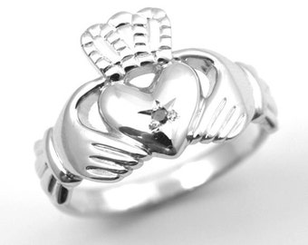 Claddagh Ring Sterling Silver Set With Black Diamond (CL1)