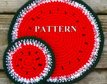 Watermelon doily coasters crochet pattern watermelon crochet pattern coaster watermelon pattern coaster crochet pattern OlgaAndrewDesigns076
