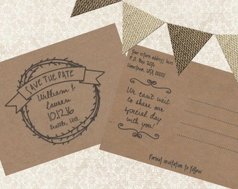 Printable Save the Date, Rustic Save the Date Postcard, Rustic Wedding, Kraft Paper Wedding