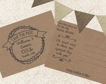 Printable Save the Date, Rustic Save the Date Postcard, Rustic Wedding, Kraft Paper Wedding