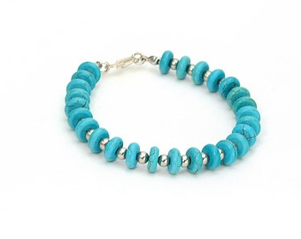 Turquoise bracelet, Turquoise and metal bracelet, Blue turquoise bracelet, Blue bracelet, Gemstone bracelet, Blue gemstone bracelet