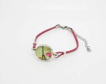 Bracelet mother of Pearl or pink beige leather with snap Eiffel Tower