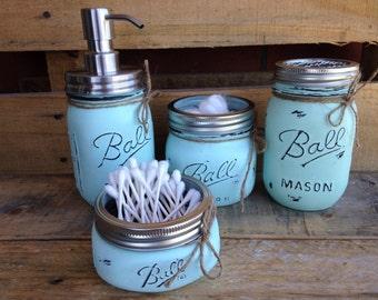 Set of 4/5 Painted Mason Jars. Mason Jar Bathroom Set. Home/Bathroom Decor. Rustic. Shabby Chic. Wedding/shower/house warming gift.