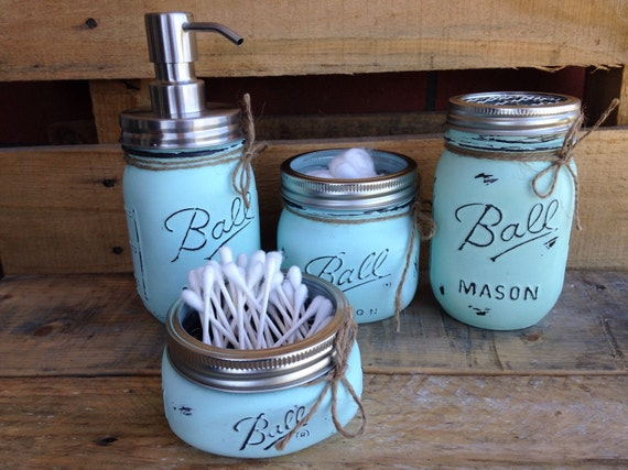 Set of 4 5 painted mason jars mason jar bathroom set for Bathroom decor mason jars