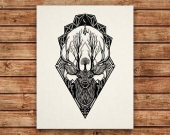 Wild Deer - 11x14 Silkscreen Art Print