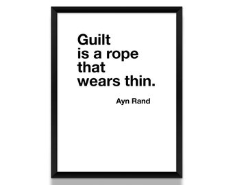 Ayn Rand Poster, Typographic Poster, Black and White Poster, Literature Poster, Quote Print, Literary Gift