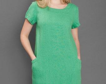 Linen women dress, Pure linen dress, Green dress, Eco Linen Dress, Linen clothing, linen clothes, Organic Linen Dress