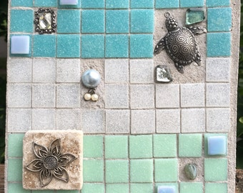 "Mosaic Tile Art ""Sea Foam"" Treasure Stone"