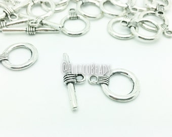 Round antique silver toggle clasps. Set of 5.