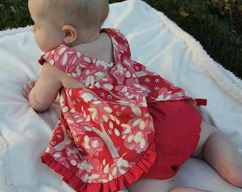 Baby Girl Dress, Woodland Dress, Ruffle Dress, Pink, Yellow, Slip On Dress, Woodland, Newborn Dress, Toddler Dress
