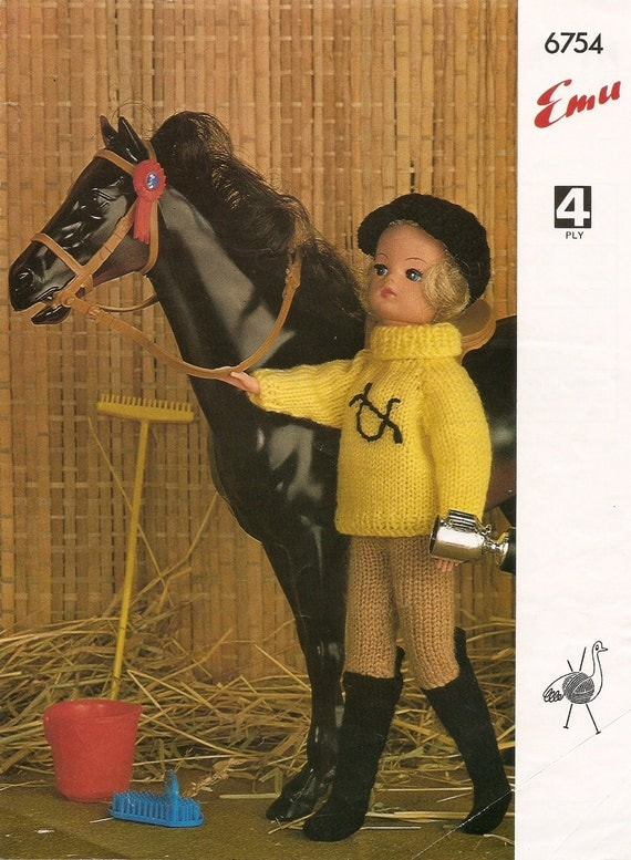 Knitting Pattern Sindy Doll Horse Riding Outfit Jumper Jodphurs Hat