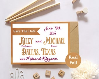 REAL FOIL Banner Save the Date Deposit