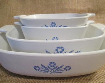 Vintage Corning Ware Blue Cornflower Baking Dishes, P41B, P43B, P1B,P9B, Casserole Dishes - Set of 4