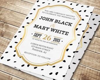 Elegant wedding invitation printable, gold wedding invitation design, printable wedding invitation, wedding invite