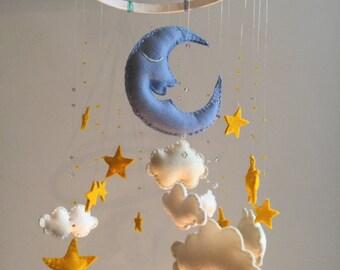 Nursery mobile Cloud, Moon and Stars