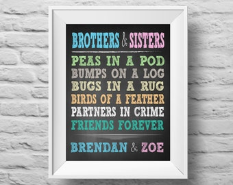 BROTHERS and SISTERS unframed Typographic poster, inspirational print, self esteem, wall decor, quote art. (R&R0085a)